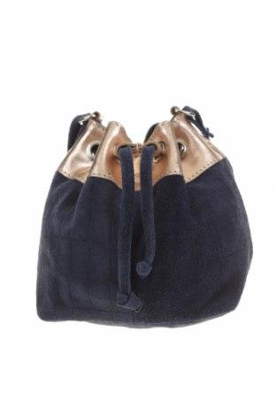 Дамска чанта Rox & Ann, Цвят Син, Естествен велур, естествена кожа, Цена 40,90лв.
