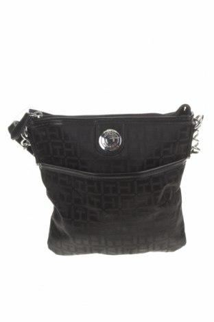 Дамска чанта Tommy Hilfiger, Цвят Черен, Текстил, еко кожа, Цена 79,43лв.