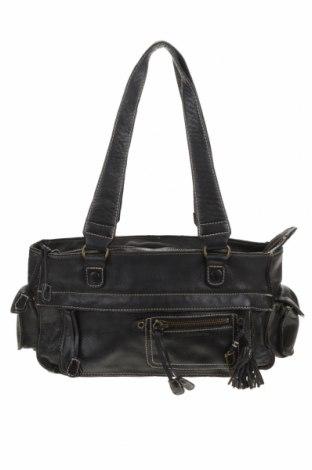 Дамска чанта United Colors Of Benetton, Цвят Черен, Естествена кожа, Цена 52,08лв.