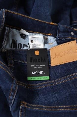 Дамски дънки Monki, Размер S, Цвят Син, 86% памук, 12% полиестер, 2% еластан, Цена 22,35лв.