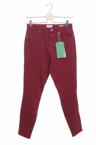 Дамски дънки ONLY, Размер XS, Цвят Червен, 91% памук, 9% еластан, Цена 25,65лв.
