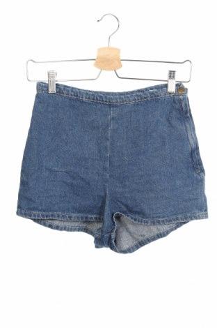 Дамски къс панталон American Apparel, Размер XS, Цвят Син, Памук, Цена 17,64лв.