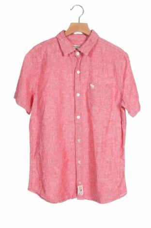 Детска риза Abercrombie Kids, Размер 12-13y/ 158-164 см, Цвят Розов, 55% лен, 45% памук, Цена 22,32лв.
