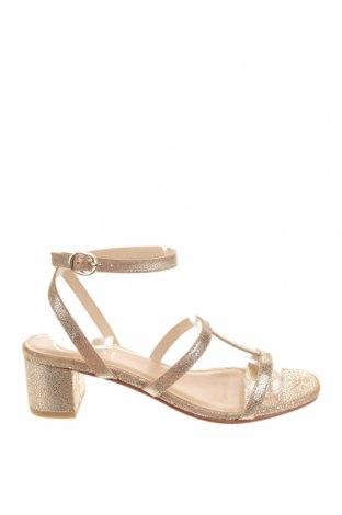 Сандали W.S Shoes, Размер 38, Цвят Златист, Естествена кожа, Цена 76,54лв.