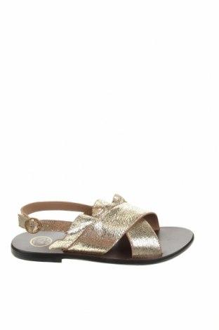 Сандали W.S Shoes, Размер 38, Цвят Златист, Естествена кожа, Цена 71,17лв.