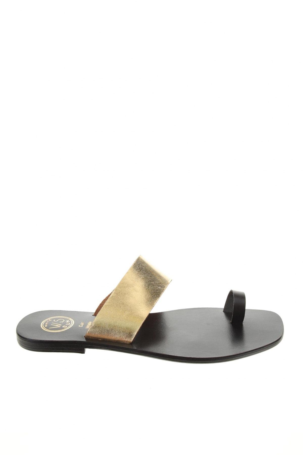 Чехли W.S Shoes, Размер 38, Цвят Златист, Естествена кожа, Цена 55,30лв.