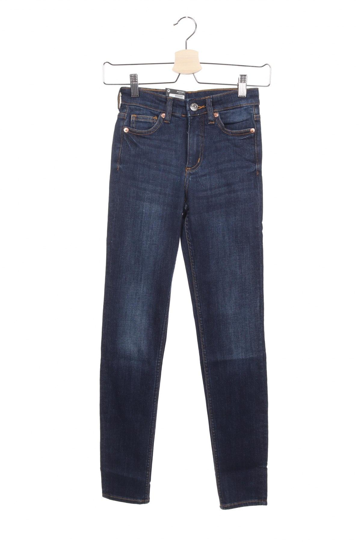 Дамски дънки Monki, Размер XXS, Цвят Син, 86% памук, 12% полиестер, 2% еластан, Цена 22,35лв.