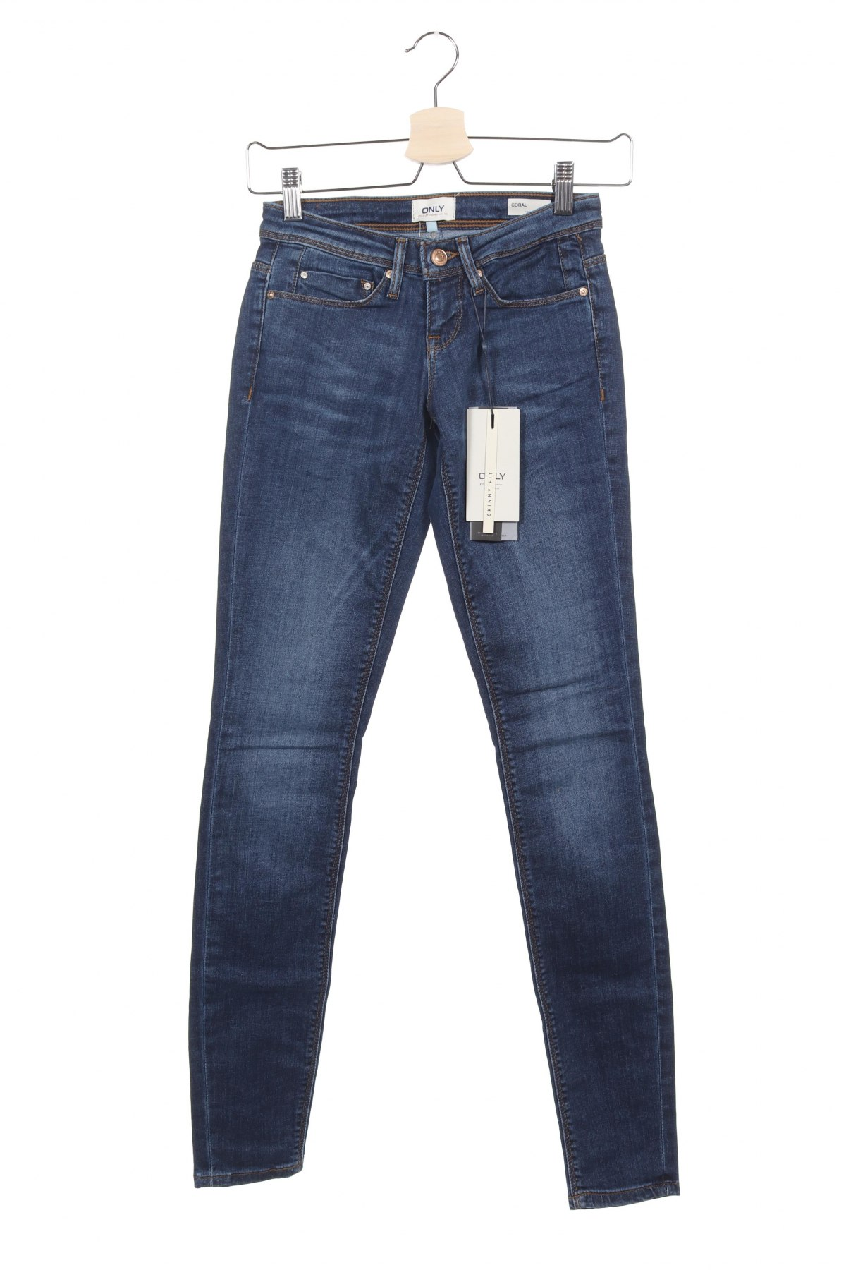 Дамски дънки ONLY, Размер XS, Цвят Син, 98% памук, 2% еластан, Цена 18,87лв.