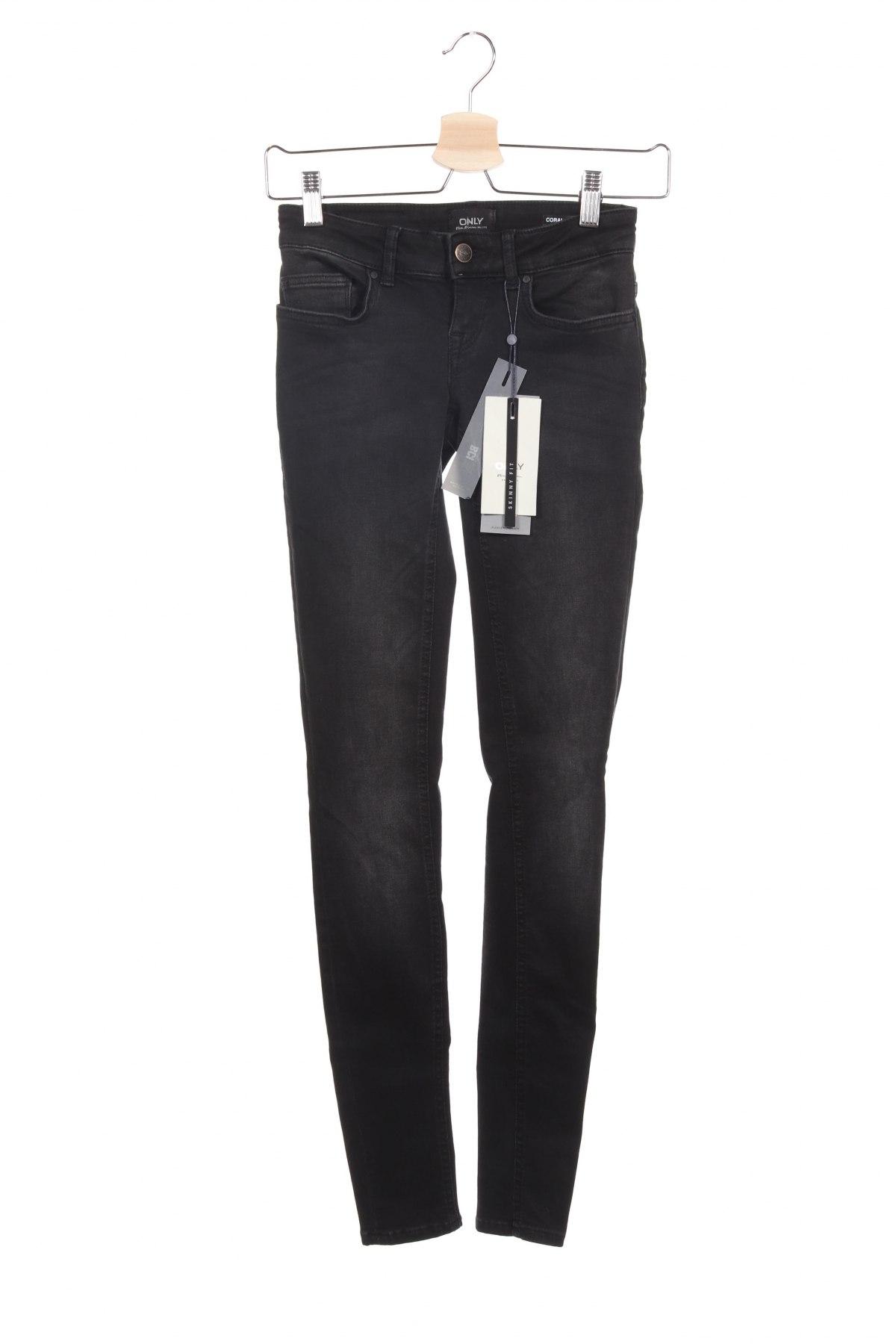 Дамски дънки ONLY, Размер XS, Цвят Черен, 92% памук, 6% полиестер, 2% еластан, Цена 25,57лв.