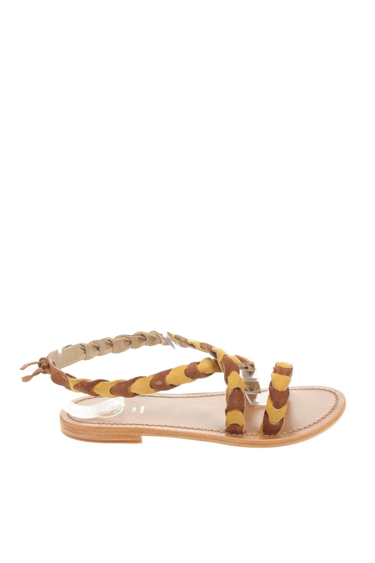 Сандали W.S Shoes, Размер 38, Цвят Жълт, Естествен велур, Цена 65,86лв.