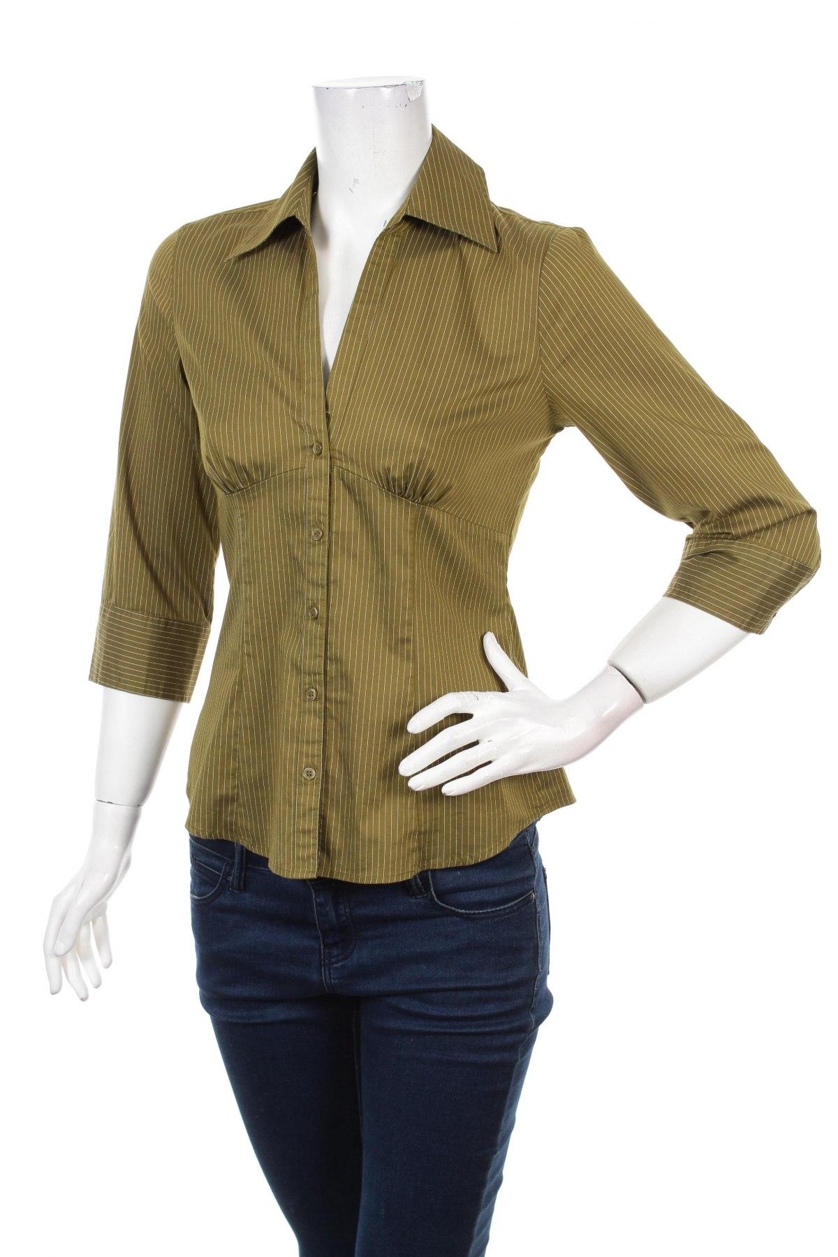 Γυναικείο πουκάμισο H&M, Μέγεθος M, Χρώμα Πράσινο, 66% βαμβάκι, 25% πολυαμίδη, 5% πολυεστέρας, 4% ελαστάνη, Τιμή 15,98€