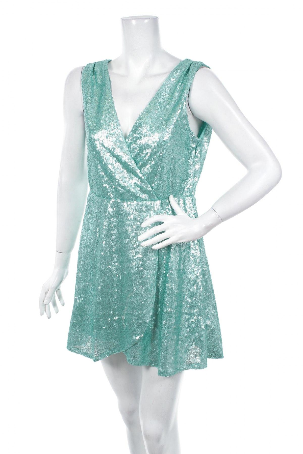 Рокля Boohoo, Размер XL, Цвят Зелен, Полиестер, Цена 49,40лв.