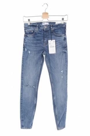 Дамски дънки Zara, Размер S, Цвят Син, 98% памук, 2% еластан, Цена 42,48лв.