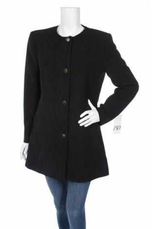Дамско палто Zara, Размер XL, Цвят Черен, 49% полиестер, 48% вискоза, 3% еластан, Цена 25,76лв.