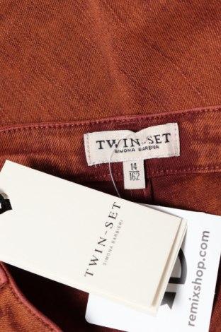 Детски дънки Twin-Set Simona Barbieri, Размер 12-13y/ 158-164 см, Цвят Кафяв, 98% памук, 2% еластан, Цена 20,28лв.