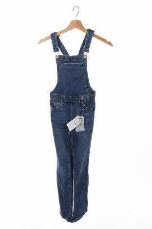 Salopetă pentru copii. Zara Kids, Mărime 9-10y/ 140-146 cm, Culoare Albastru, 98% bumbac, 2% elastan, Preț 72,95 Lei