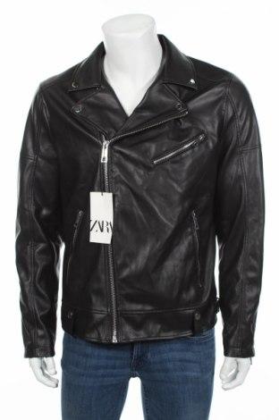 Pánská kožená bunda  Zara, Rozměr L, Barva Černá, Eko kůže, Cena  903,00Kč