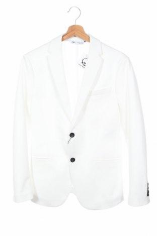 Ανδρικό σακάκι Zara, Μέγεθος S, Χρώμα Λευκό, 77% πολυεστέρας, 23% βαμβάκι, Τιμή 6,40€