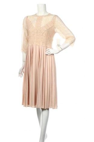 Рокля Zara, Размер L, Цвят Бежов, Полиестер, Цена 56,88лв.