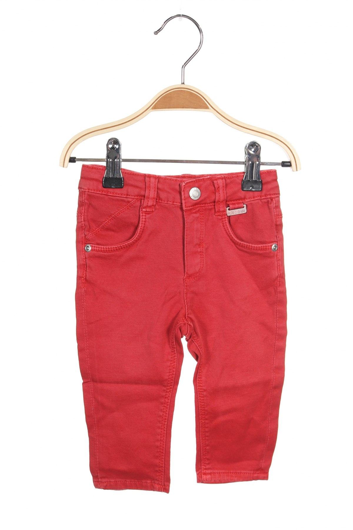 Детски дънки Kanz, Размер 3-6m/ 62-68 см, Цвят Червен, 97% памук, 3% еластан, Цена 36,75лв.