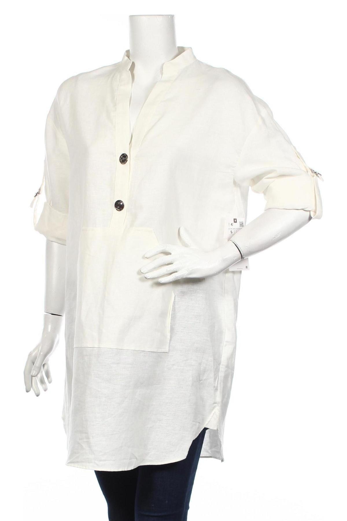 Τουνίκ Zara, Μέγεθος S, Χρώμα Λευκό, 53% λινό, 47% βαμβάκι, Τιμή 11,38€