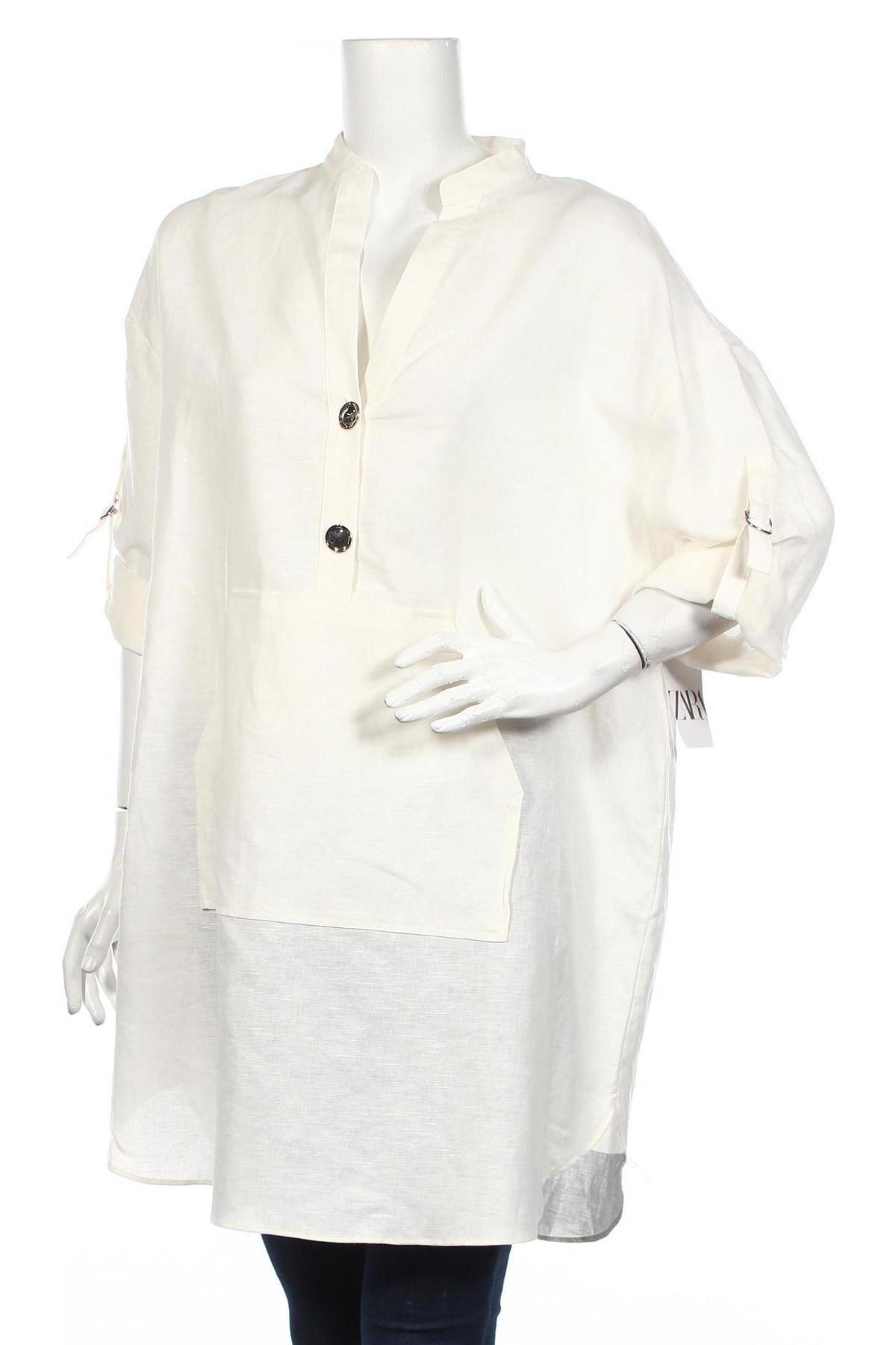 Τουνίκ Zara, Μέγεθος XL, Χρώμα Λευκό, 53% λινό, 47% βαμβάκι, Τιμή 11,38€