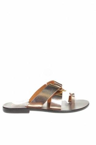 Papuci W.S Shoes, Mărime 38, Culoare Auriu, Piele naturală, Preț 223,49 Lei