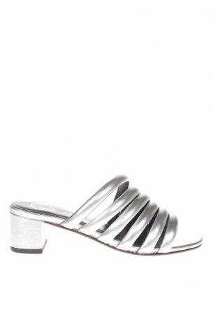 Γυναικείες παντόφλες W.S Shoes, Μέγεθος 38, Χρώμα Γκρί, Γνήσιο δέρμα, Τιμή 30,54€