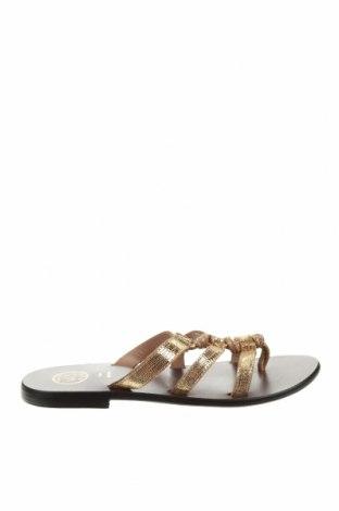 Papuci White Sun, Mărime 38, Culoare Auriu, Piele naturală, Preț 190,65 Lei