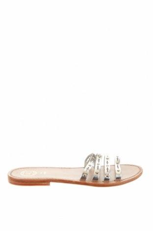 Γυναικείες παντόφλες White Sun, Μέγεθος 39, Χρώμα Ασημί, Γνήσιο δέρμα, Τιμή 26,68€