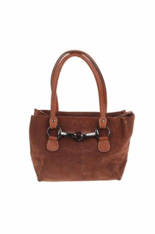 Дамска чанта Kem, Цвят Кафяв, Естествен велур, Цена 71,40лв.