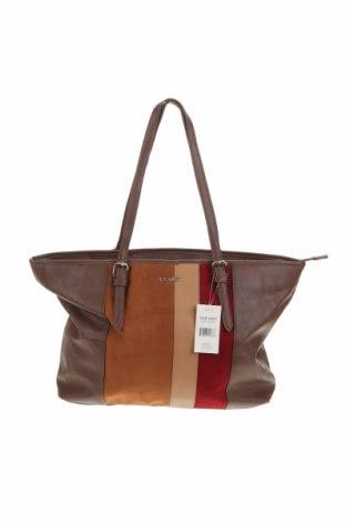 Дамска чанта Nine West, Цвят Кафяв, Еко кожа, текстил, Цена 135,45лв.