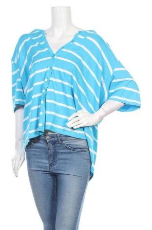 Дамска жилетка My Size, Размер L, Цвят Син, 90% памук, 10% еластан, Цена 21,32лв.