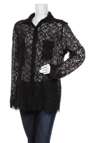 Дамска риза, Размер XXL, Цвят Черен, 60% памук, 40% полиестер, Цена 9,83лв.