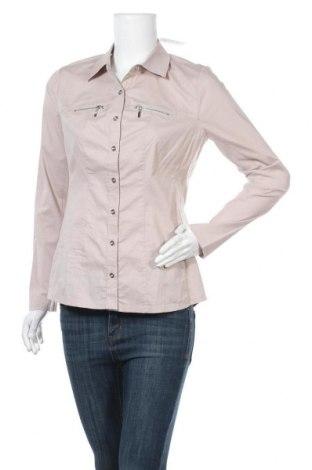 Дамска риза Alba Moda, Размер M, Цвят Бежов, 97% памук, 3% еластан, Цена 41,60лв.