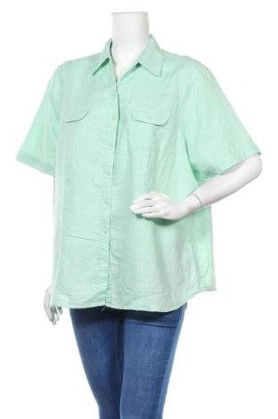 Дамска риза Kingfield, Размер 3XL, Цвят Зелен, 60% лен, 40% памук, Цена 29,40лв.