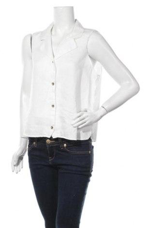 Дамска риза Mango, Размер L, Цвят Бял, Лен, Цена 17,85лв.