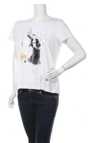 Γυναικείο t-shirt DKNY, Μέγεθος M, Χρώμα Λευκό, 58% βαμβάκι, 37% μοντάλ, 5% ελαστάνη, Τιμή 34,41€
