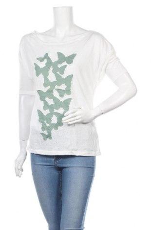 Γυναικείο t-shirt Pull&Bear, Μέγεθος L, Χρώμα Λευκό, 50% βαμβάκι, 50% πολυεστέρας, Τιμή 18,09€