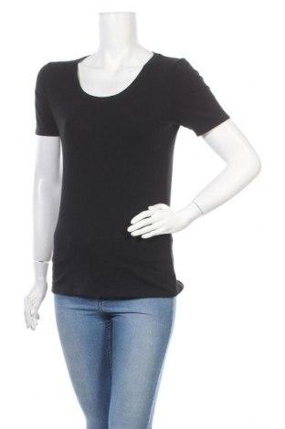 Дамска тениска Vivance, Размер M, Цвят Черен, 95% памук, 5% еластан, Цена 17,68лв.