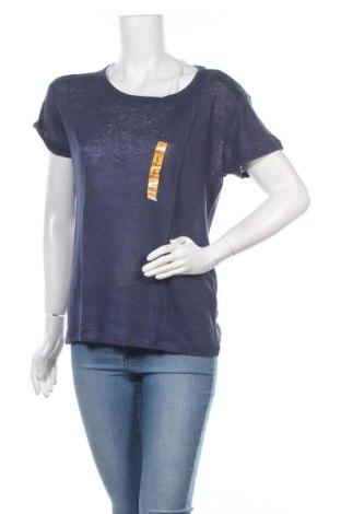 Γυναικείο t-shirt Zara, Μέγεθος L, Χρώμα Μπλέ, Λινό, Τιμή 22,73€