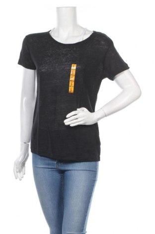 Γυναικείο t-shirt Zara, Μέγεθος L, Χρώμα Μαύρο, Λινό, Τιμή 22,73€