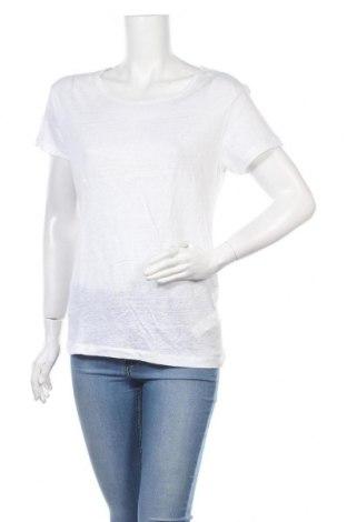 Γυναικείο t-shirt Zara, Μέγεθος L, Χρώμα Λευκό, Λινό, Τιμή 22,73€