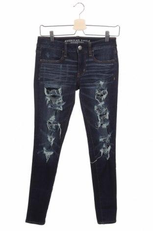 Дамски дънки American Eagle, Размер XS, Цвят Син, 71% памук, 14% вискоза, 11% полиестер, 4% еластан, Цена 29,40лв.