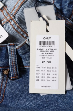 Дамски дънки ONLY, Размер S, Цвят Син, 99% памук, 1% еластан, Цена 44,25лв.
