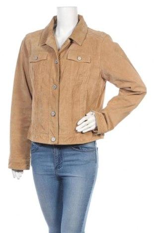 Дамско кожено яке S.Oliver, Размер M, Цвят Бежов, Естествен велур, Цена 35,96лв.