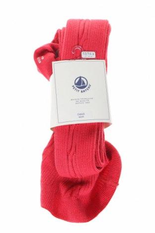 Детски чорапогащи Petit Bateau, Размер 11-12y/ 152-158 см, Цвят Червен, 41% вълна, 39% акрил, 2% памук, 15% полиамид, 2% еластан, 1% метални нишки, Цена 12,74лв.