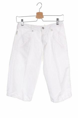 Детски къс панталон Armani Junior, Размер 11-12y/ 152-158 см, Цвят Бял, 52% лен, 48% памук, Цена 33,12лв.