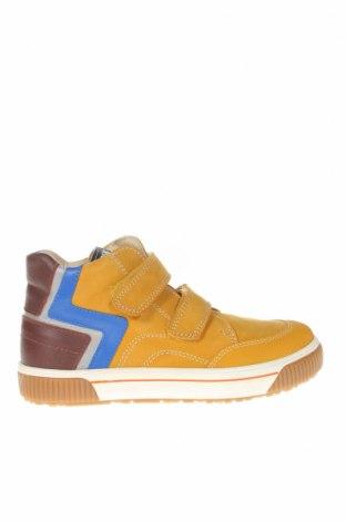 Детски обувки Pablosky, Размер 35, Цвят Жълт, Естествен велур, естествена кожа, еко кожа, Цена 57,77лв.