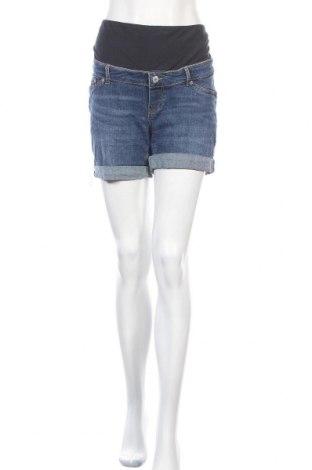 Къс панталон за бременни H&M Mama, Размер L, Цвят Син, 99% памук, 1% еластан, Цена 19,95лв.